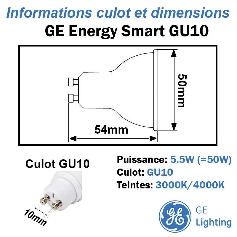 Ampoule LED GU10 GE Energy Smart 5.5W