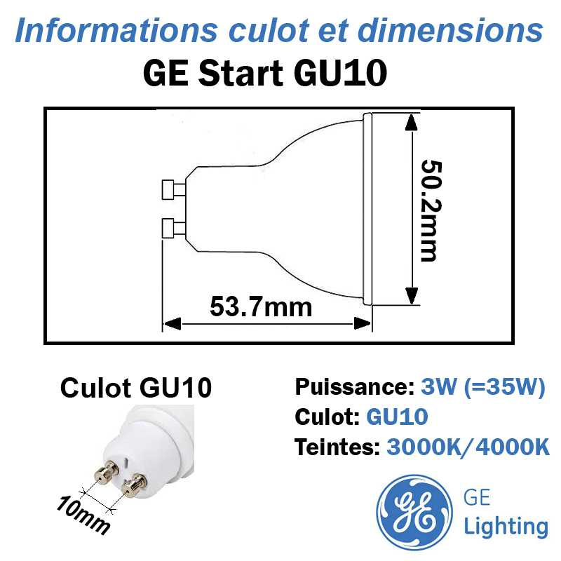 Lampe LED GU10 GE Start 3W