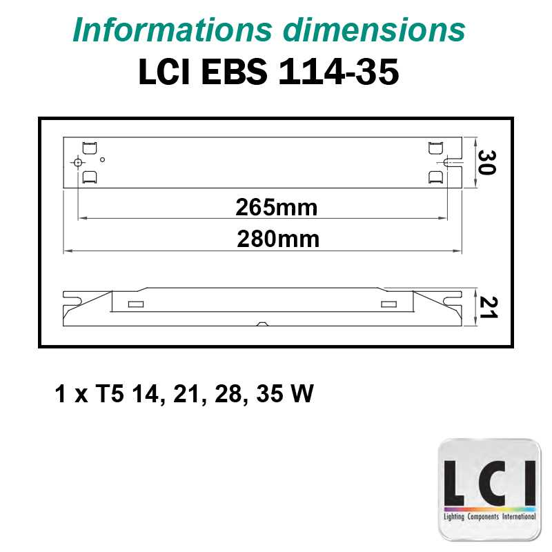 Dimensions Ballast electronique LCI EBS 114-35