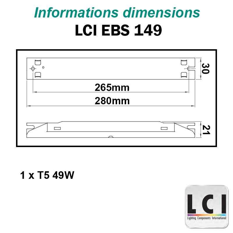 Dimensions Ballast electronique LCI EBS 149