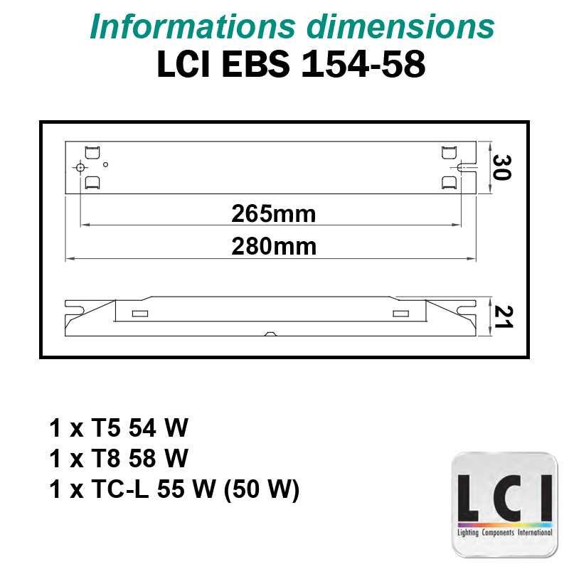 Dimensions Ballast electronique LCI EBS 154-58