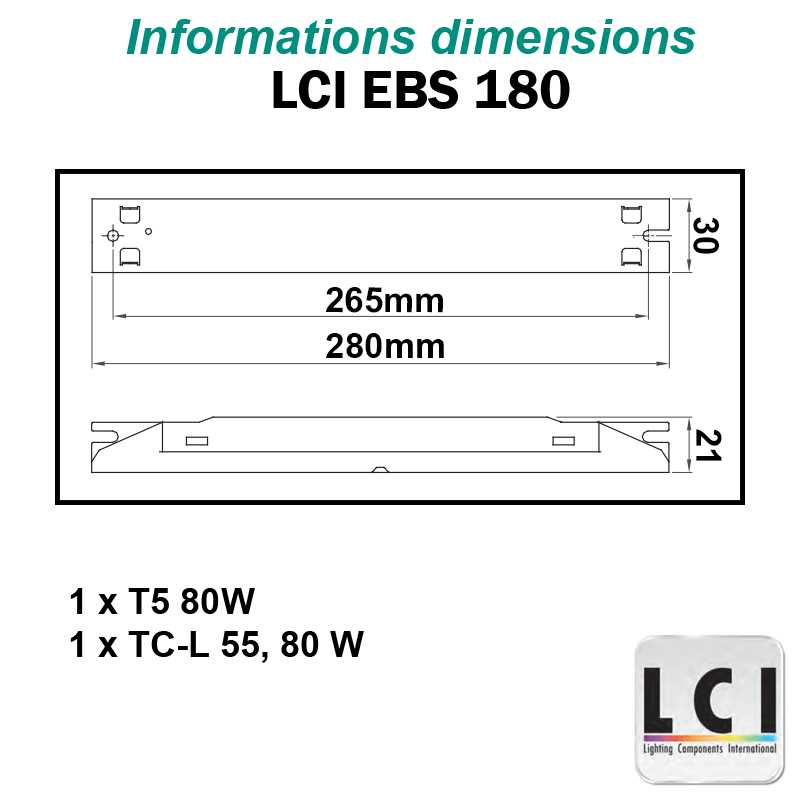 Dimensions Ballast electronique LCI EBS 180