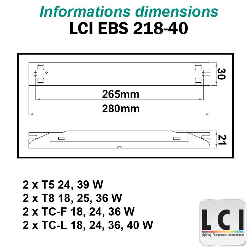 Dimensions Ballast electronique LCI EBS 218-40