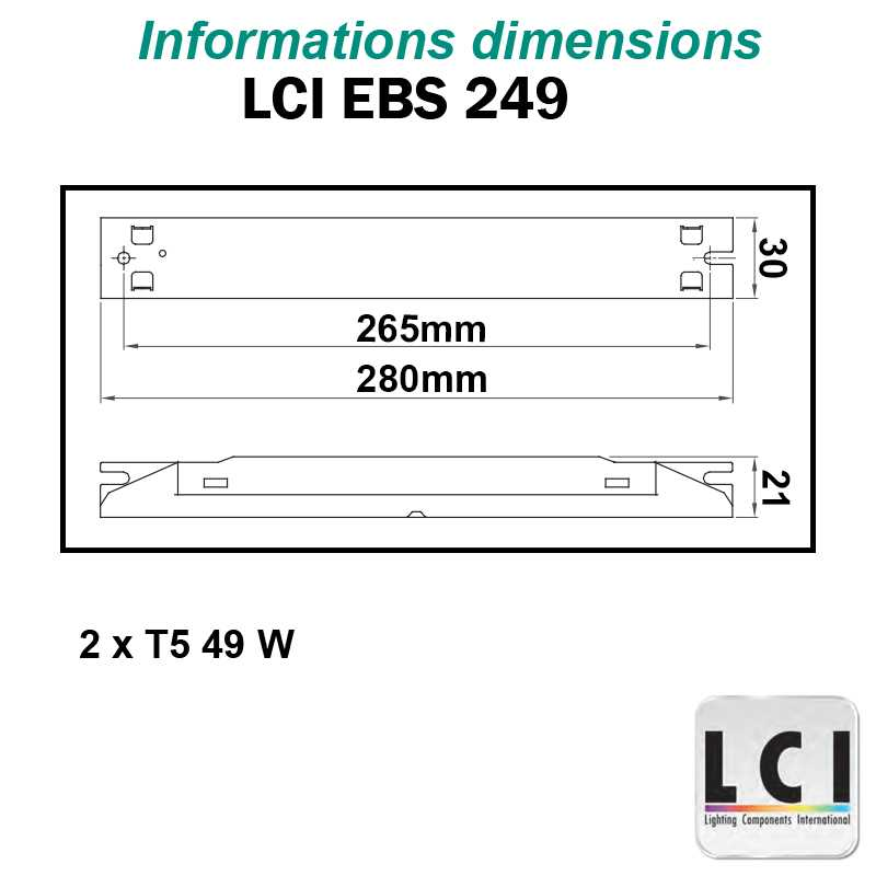 Dimensions Ballast electronique LCI EBS 249