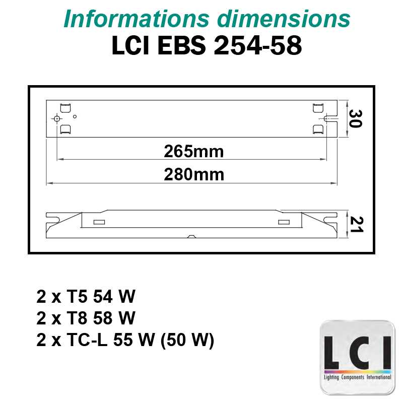 Dimensions Ballast electronique LCI EBS 254-58