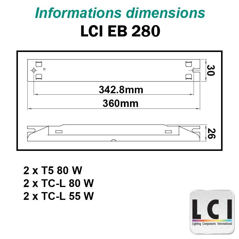 Dimensions Ballast electronique LCI EB 280