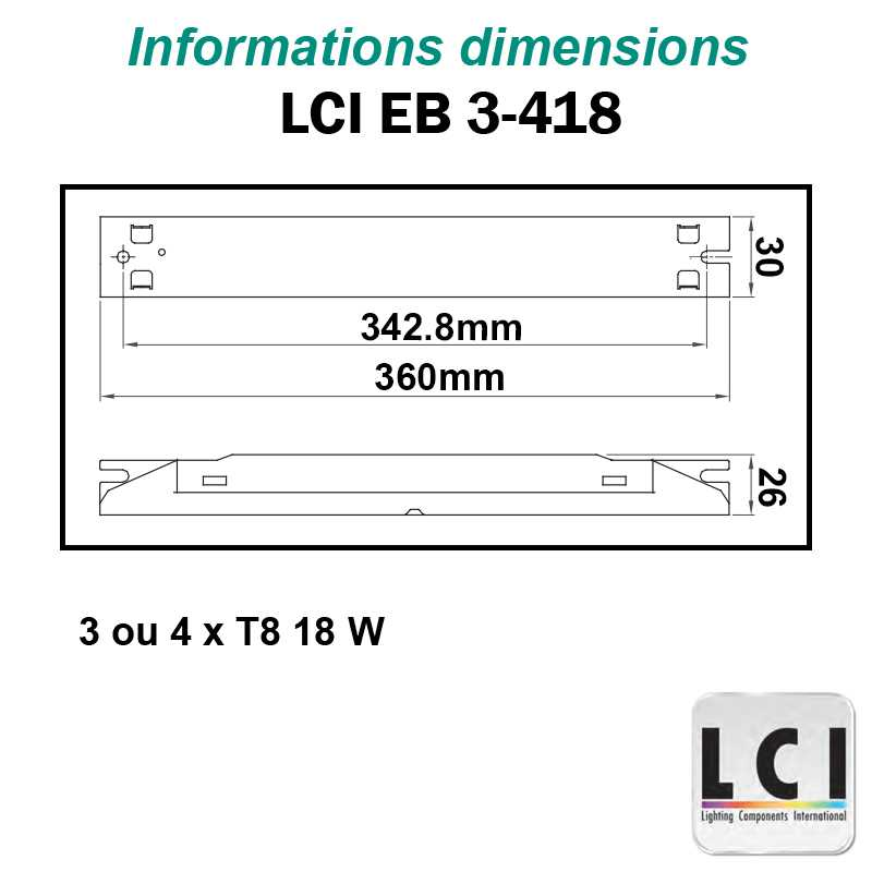 Dimensions Ballast electronique LCI EB 3-418