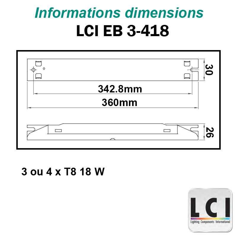Dimensions Ballast electronique LCI EB 3-418