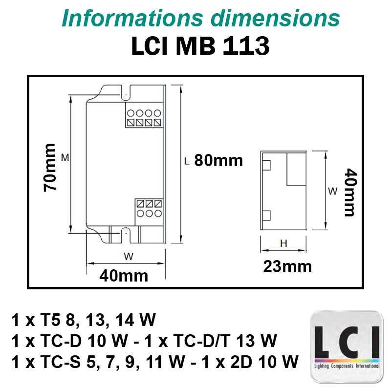 Dimensions Ballast electronique LCI MB 113
