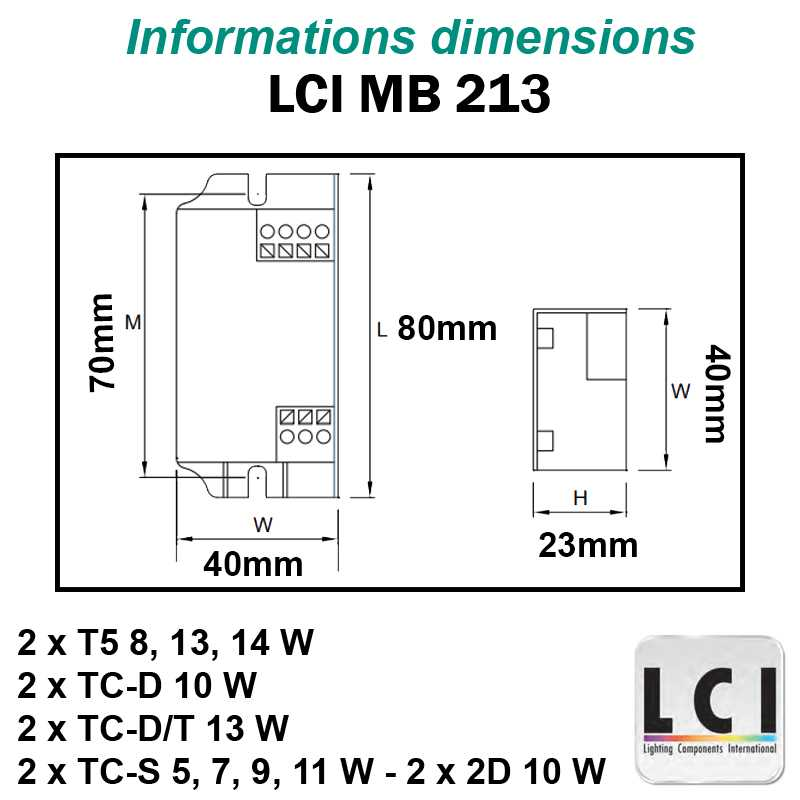 Dimensions Ballast electronique LCI MB 213