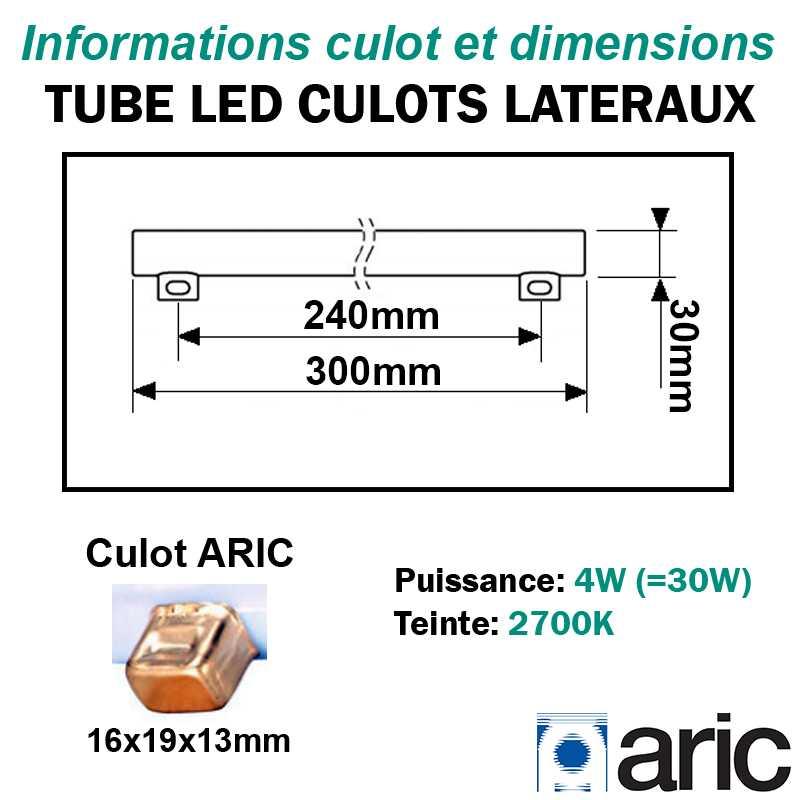 Tube LED 4W ARIC 54000 culots latéraux