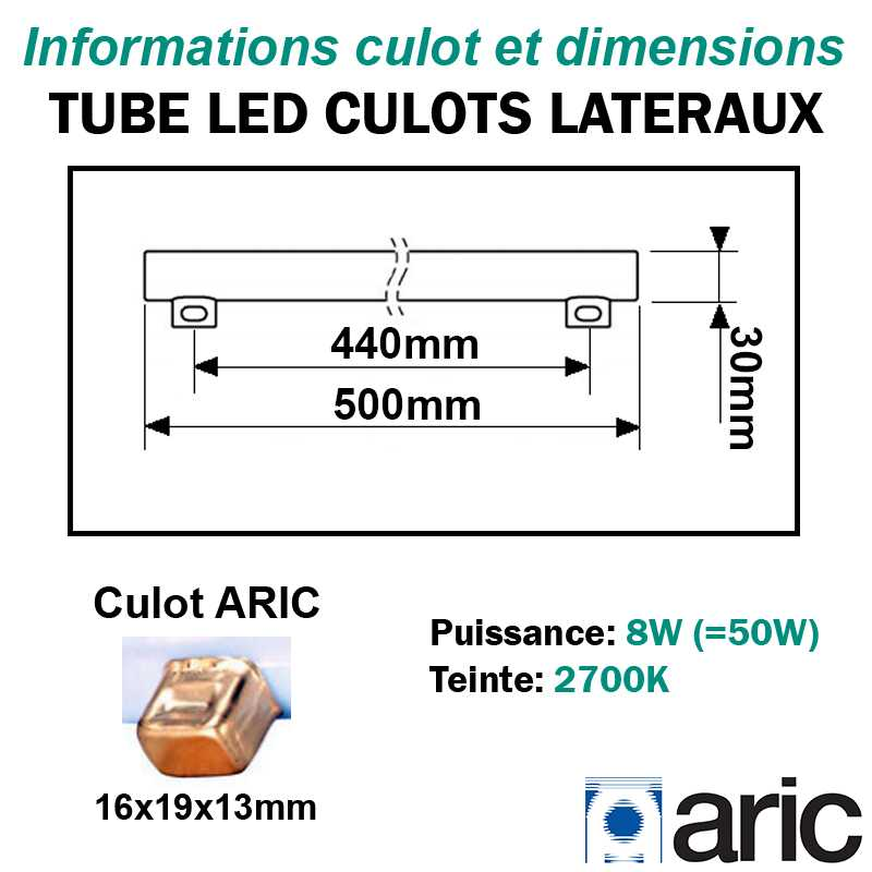 Tube LED 8W ARIC 54002 culots latéraux