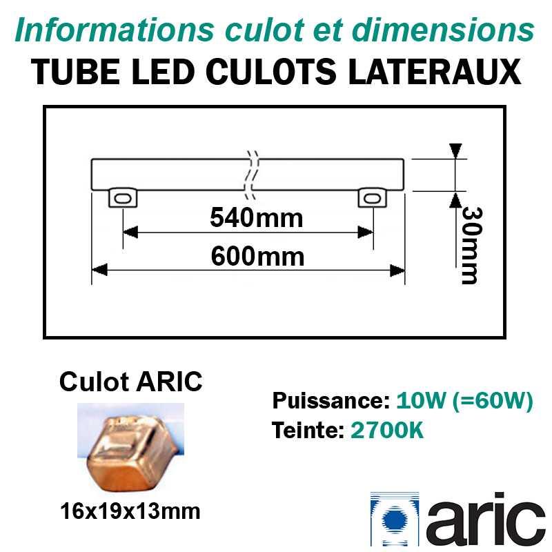 Tube LED 10W ARIC 54003 culots latéraux