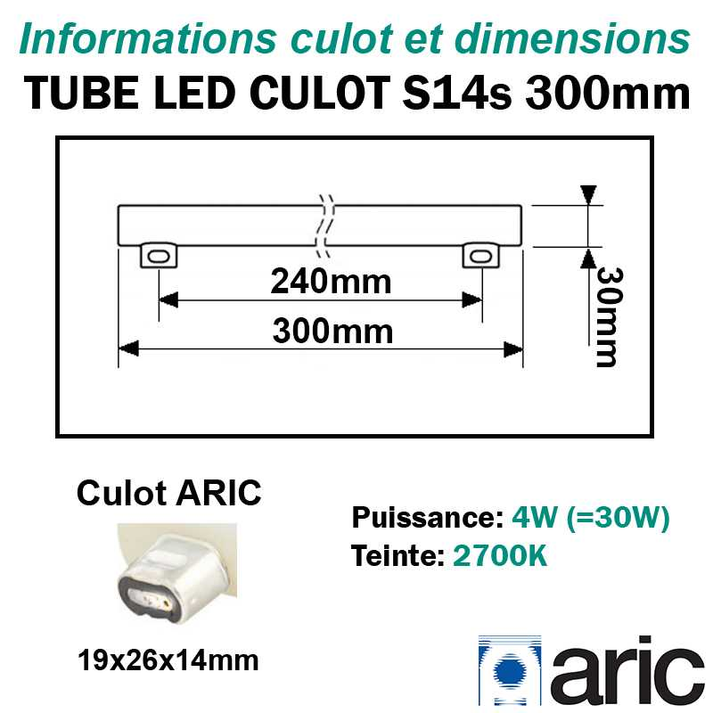 Tube LED  culots latéraux S14s 4W ARIC