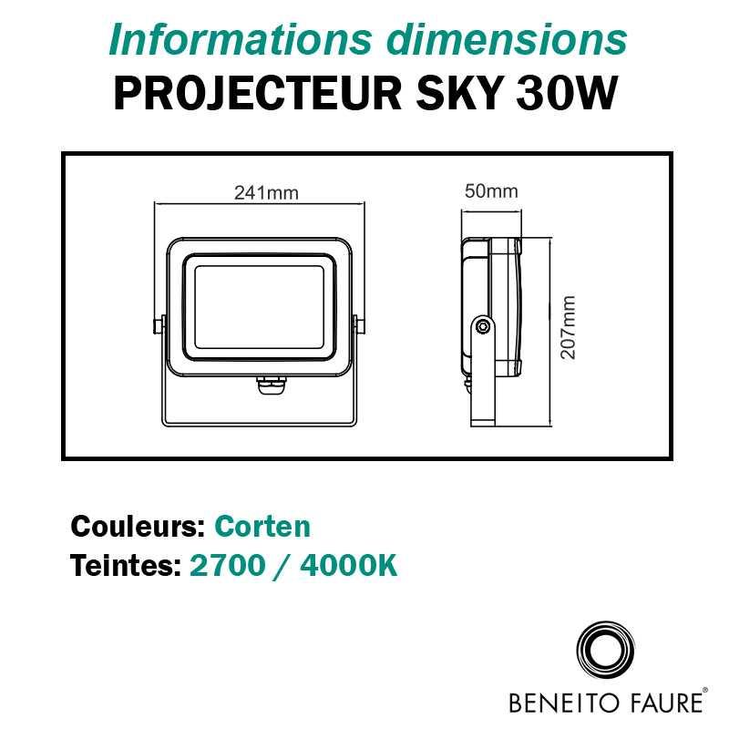 Dimensions projecteur BENEITO FAURE SKY 30W corten