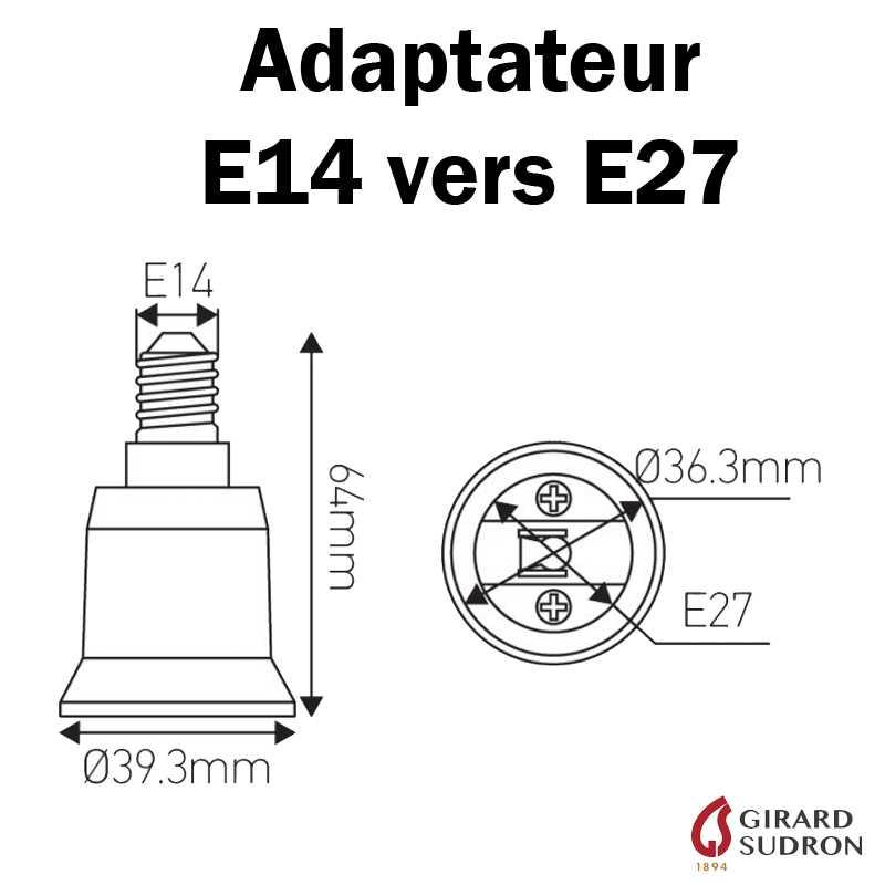 Dimensions adaptateur E14 vers E27