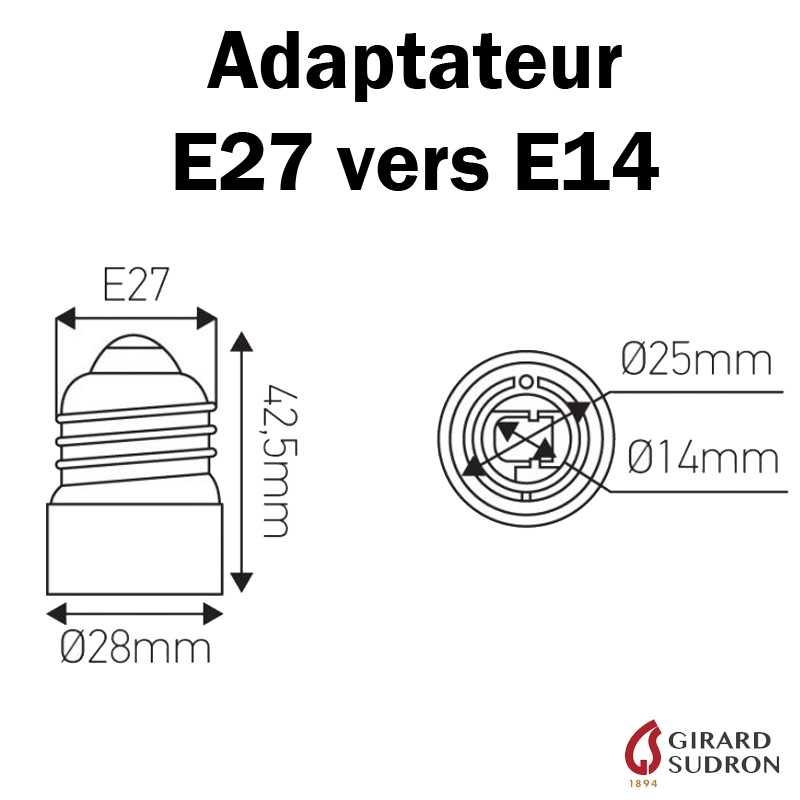 Dimensions adaptateur E27 vers E14
