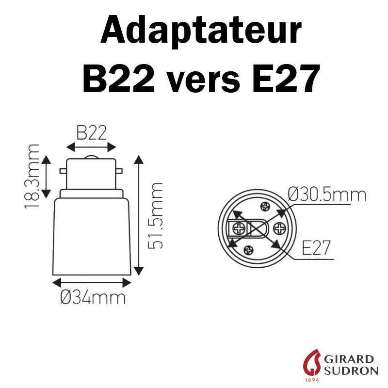 dimensions adaptateur B22 vers E27