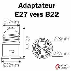 dimensions adaptateur E27 vers B22
