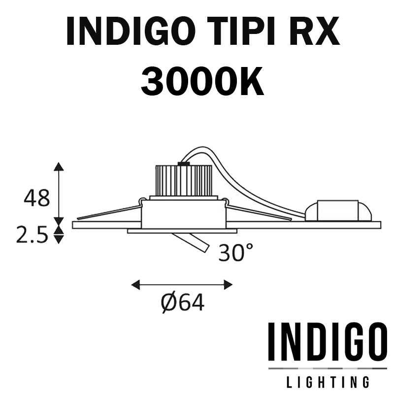 DIMENSIONS SPOT TIPI RX ENCASTRE INDIGO