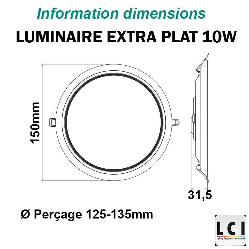 luminaire LED extra plat LCI 10W