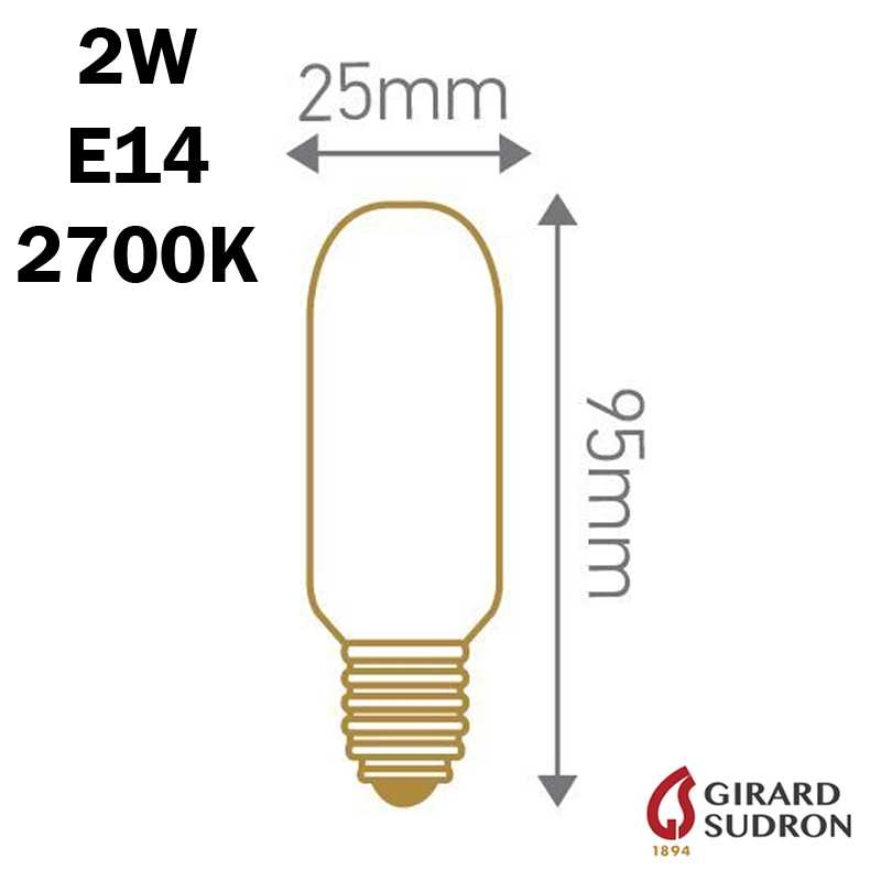 SUDRON Tubulaire Filament LED 2W 95mm dimensions