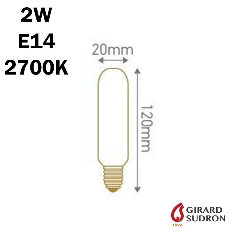 SUDRON Tubulaire Filament LED 2W 120mm dimensions