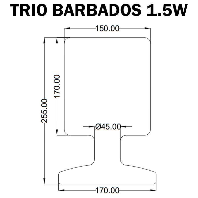 dimensions trio barbados lampe plastique