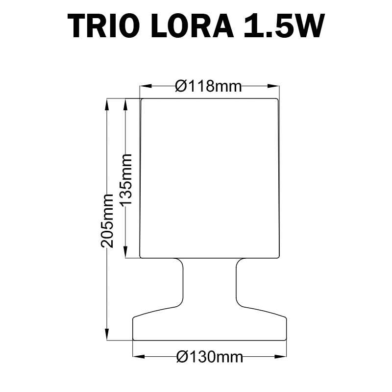 DIMENSIONS LAMPE DE TABLE LORA