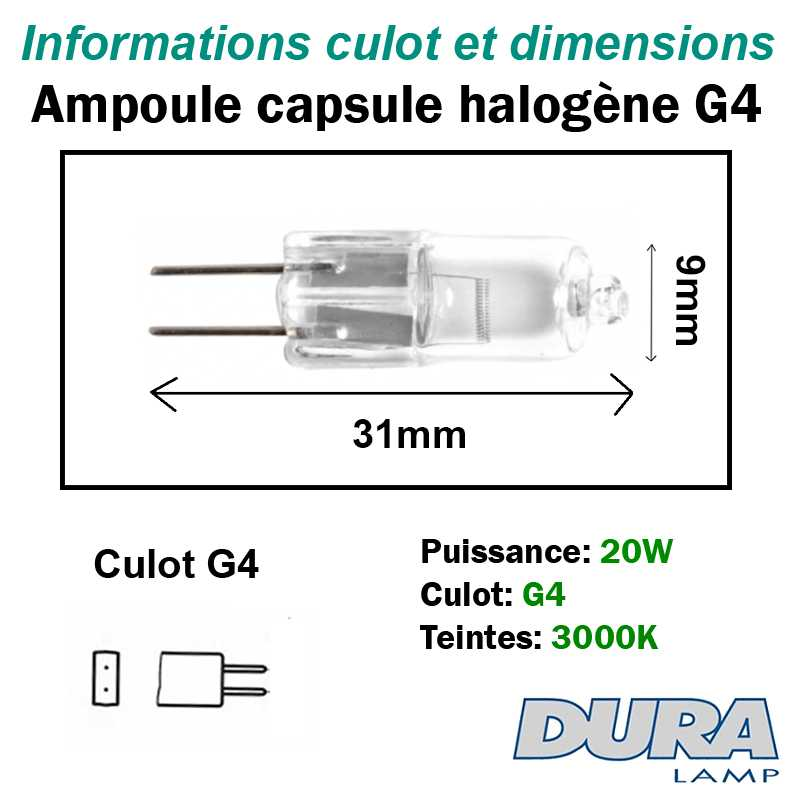 dimensions ampoule halogène 20W G4