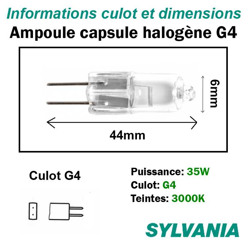 dimensions ampoule halogène 35W G4