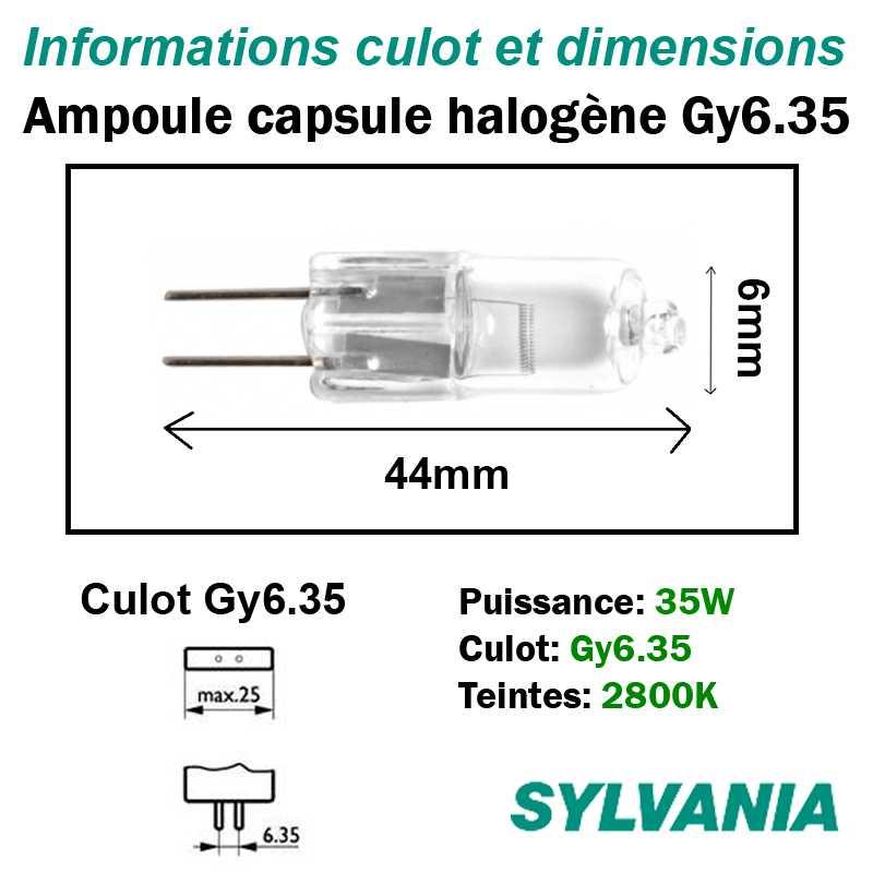 dimensions ampoule halogène 35W Gy6.35
