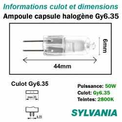 dimensions ampoule halogène 50W Gy6.35