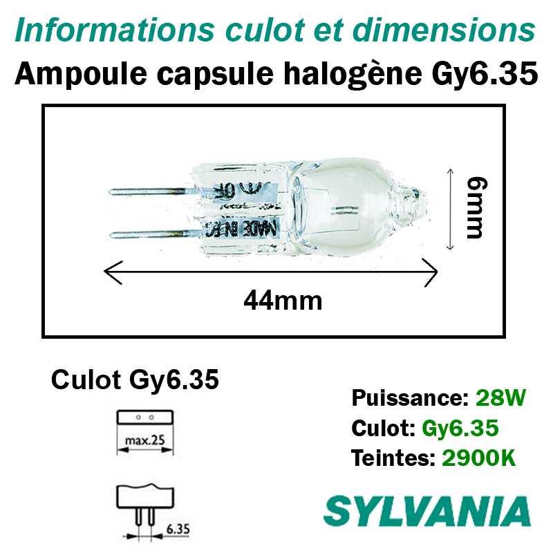 dimensions ampoule halogène 28W Gy6.35