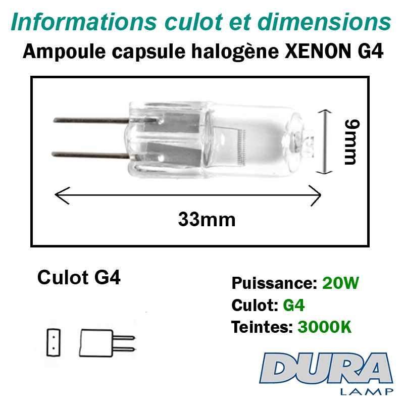 dimensions capsule 20w g4 xenon