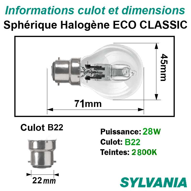 dimensions AMPOULE SPHERIQUE HALOGENE B22 28W