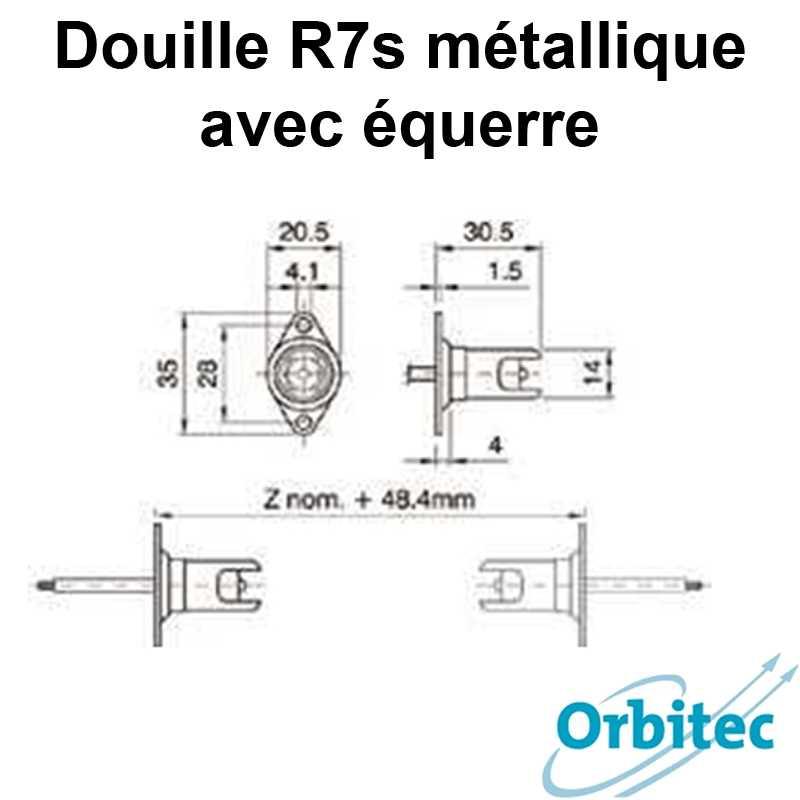 dimensions Douille R7s métallique avec équerre