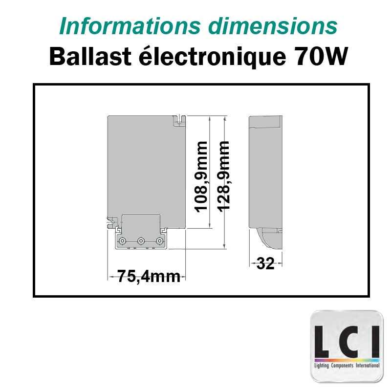 Dimensions alimentation électronique iodure 70W