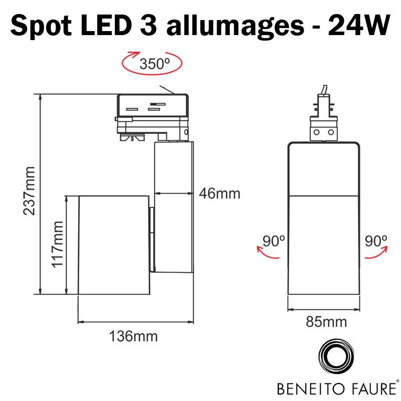 dimensions spot led beneito 3 allumages