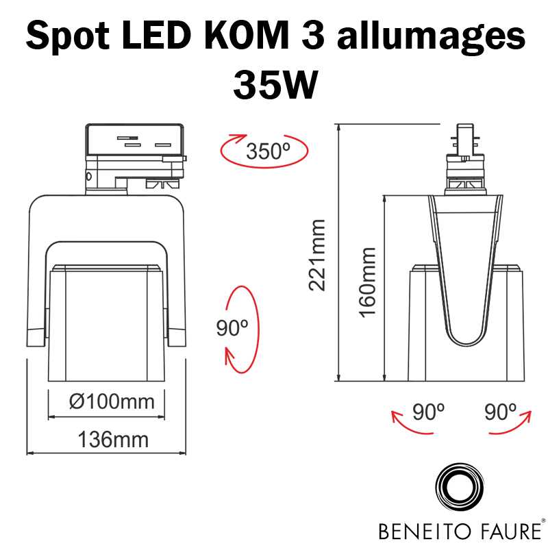 dimensions spot led beneito 3 allumages 35W