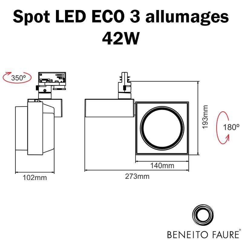 dimensions spot led beneito 3 allumages 42W ECO