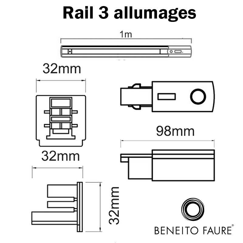 dimensions rail 3 allumages beneito