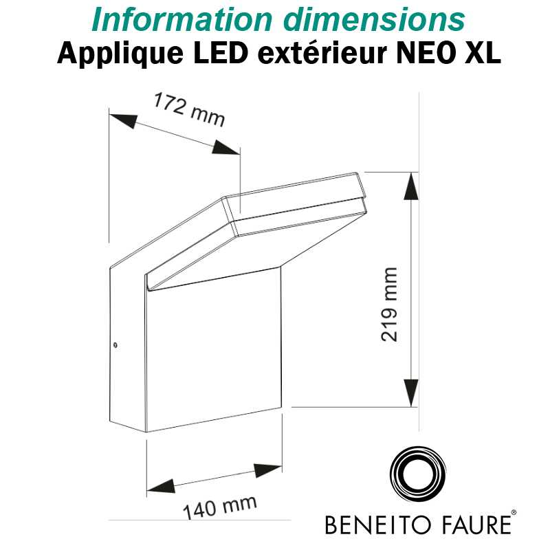 DIMENSIONS APPLIQUE BENEITO NEO 18W
