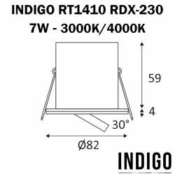 Dimensions Spot encastré INDIGO RT1014 RDX-230
