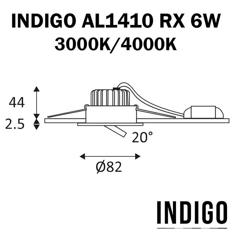 DIMENSIONS SPOT LED INDIGO AL1014RX