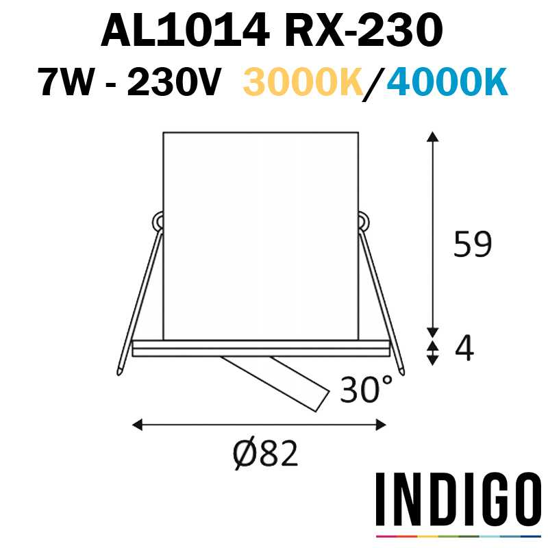 Dimensions INDIGO RT1014 RX-230