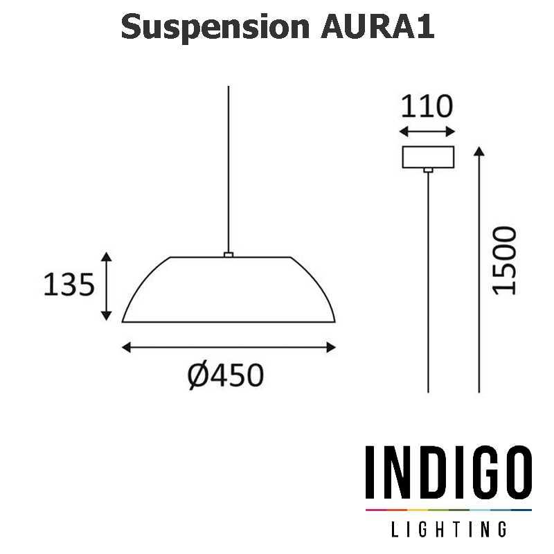 Dimensions suspension LED INDIGO AURA 1