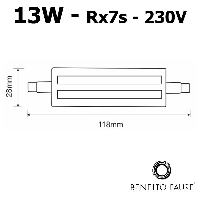 Dimensions tube LED R7s 13W