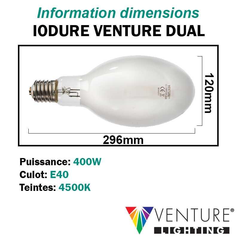 Ampoule iodure 400W VENTURE DUAL ovoïde