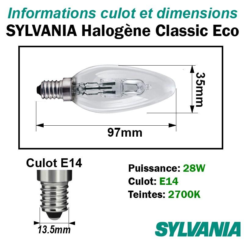 Sylvania halogène classic éco flamme lisse 0023740